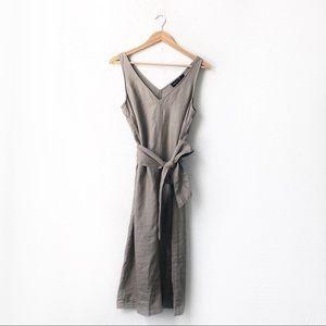 NWT Adrienne Vittadini | 100% Linen Tie Midi Dress